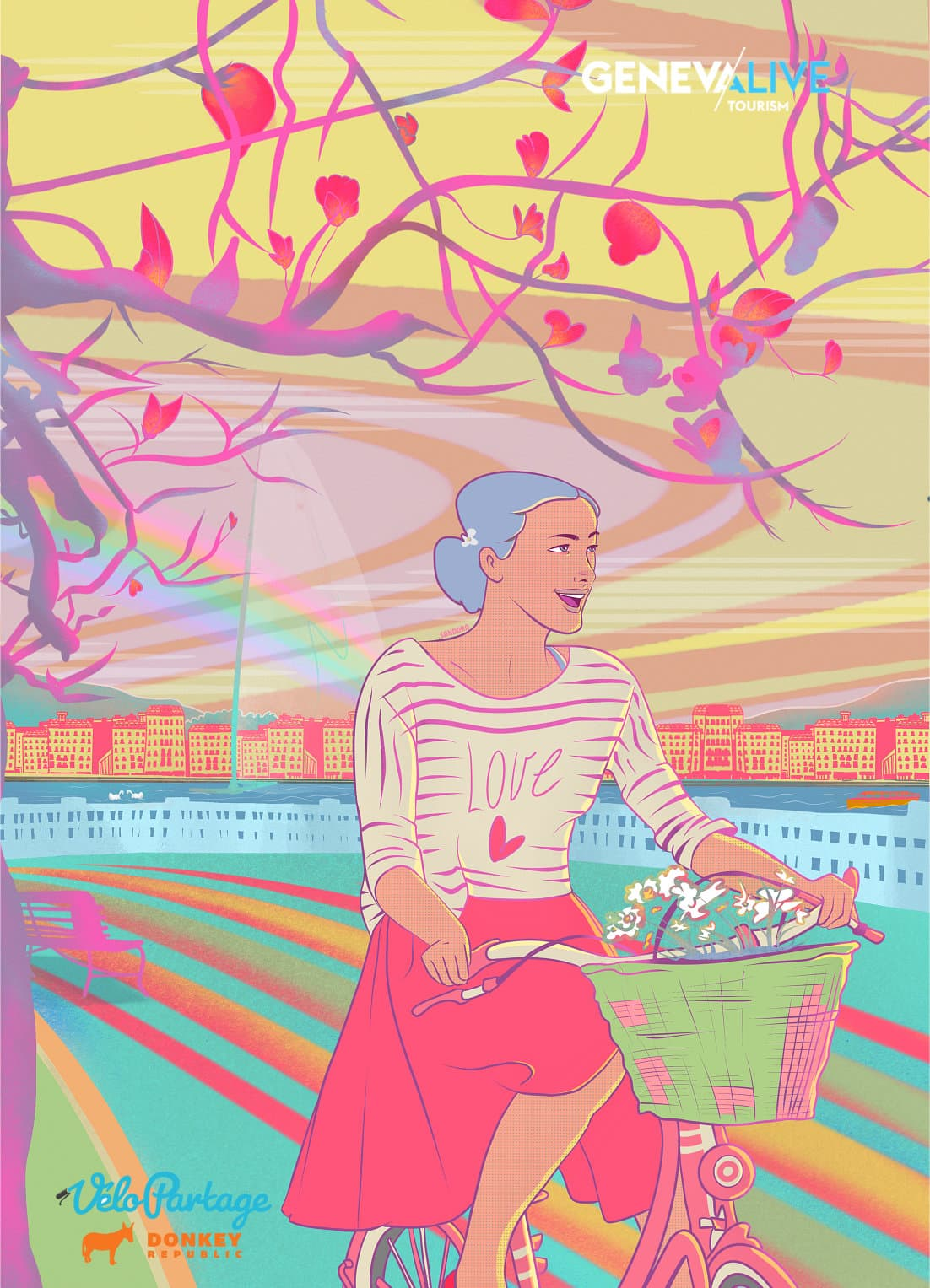 portfolio page adverising poster named slow down illustrated with a woman biking on the Geneva lake shore