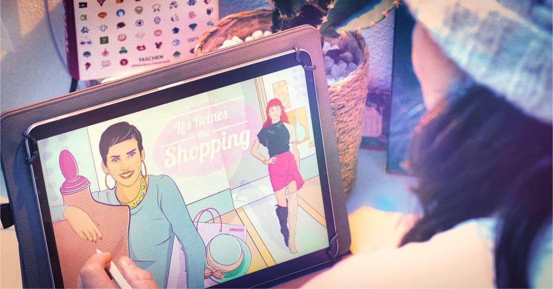 Home page Les Reines du Shopping digital illustration to present sanddra illustrator universe