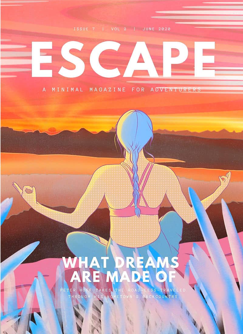 home page lifestyle illustration for the cover of the magazine Escape